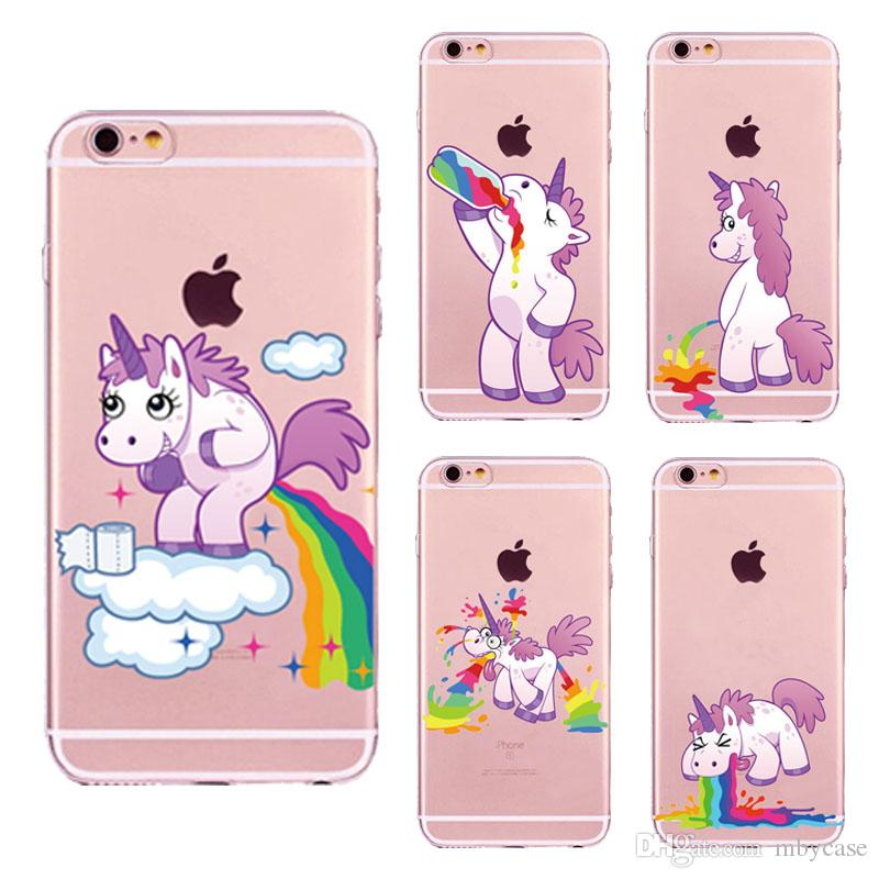 New Cute Unicorn Rainbow Case pour iPhone 5 5s SE 6 6s 7 7Plus 6Plus Puke Unicor