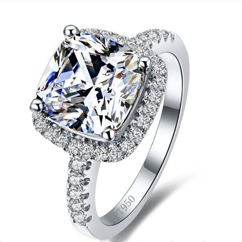 luxury 3 carat sona simulated diamond engagement rings princess cut cushion ring women synthetic diamond engagement - Wedding Rings Princess Cut
