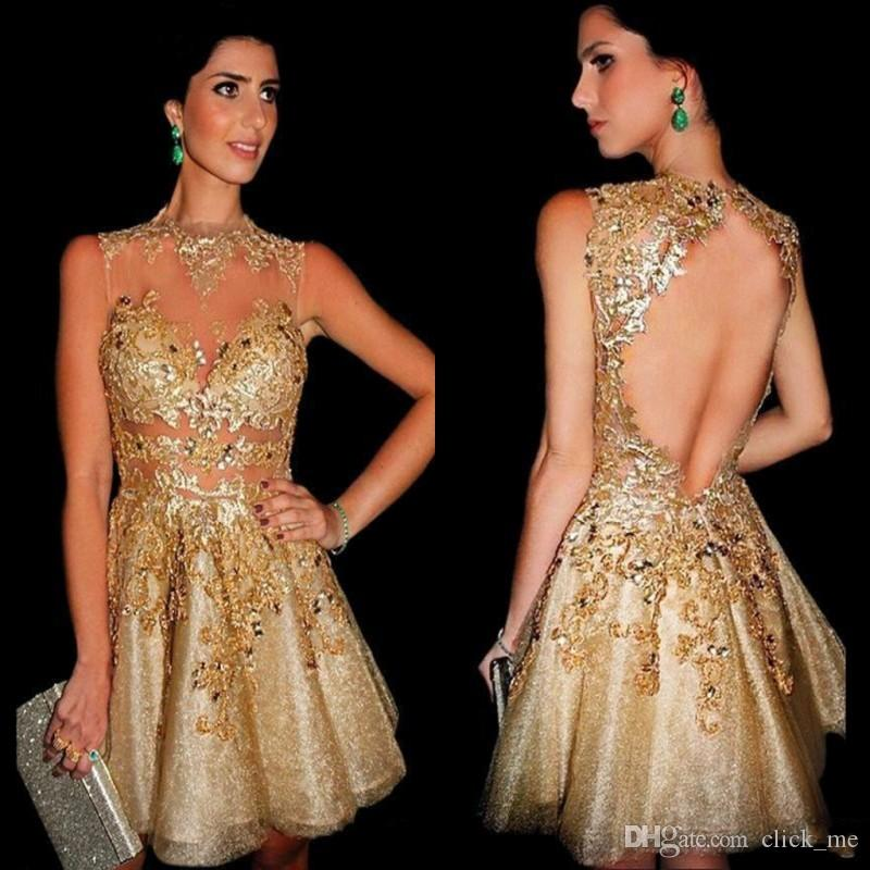 See Through Gold Short Party Dresses Cheap Open Back Sexy Prom ...