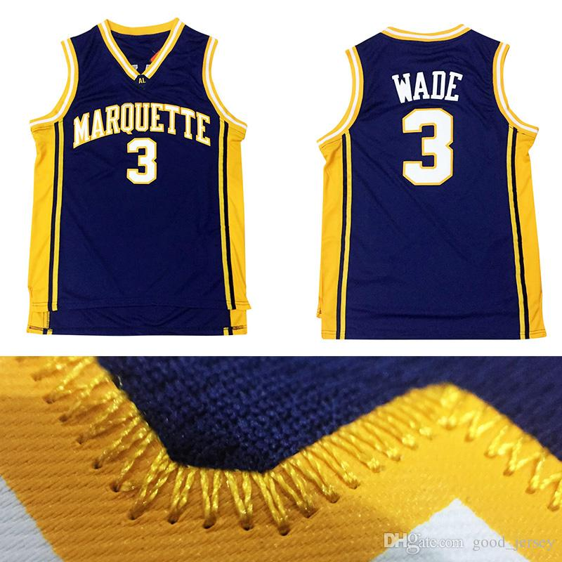 Marquette Golden Eagles Maillot de basket-ball Dwyane Wade 3 College - Logo de b
