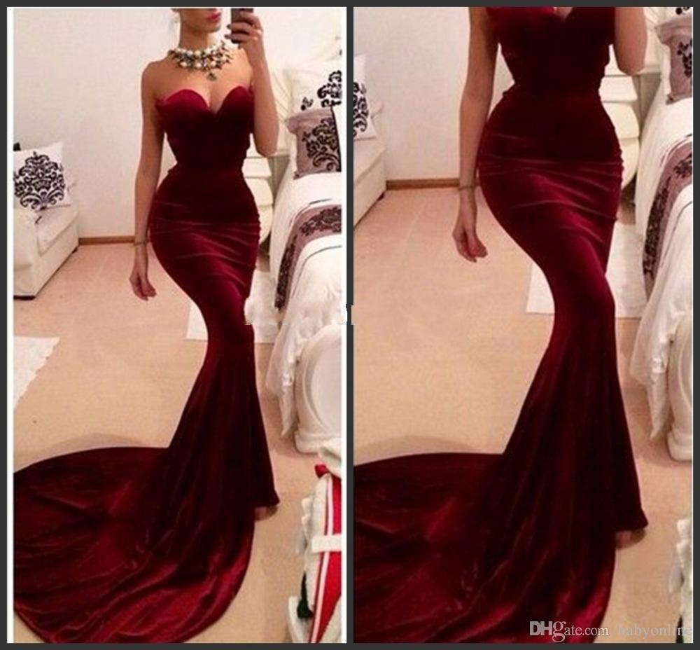 Wholesale Wine Red Mermaid Prom Dresses - Buy Cheap Wine Red ...
