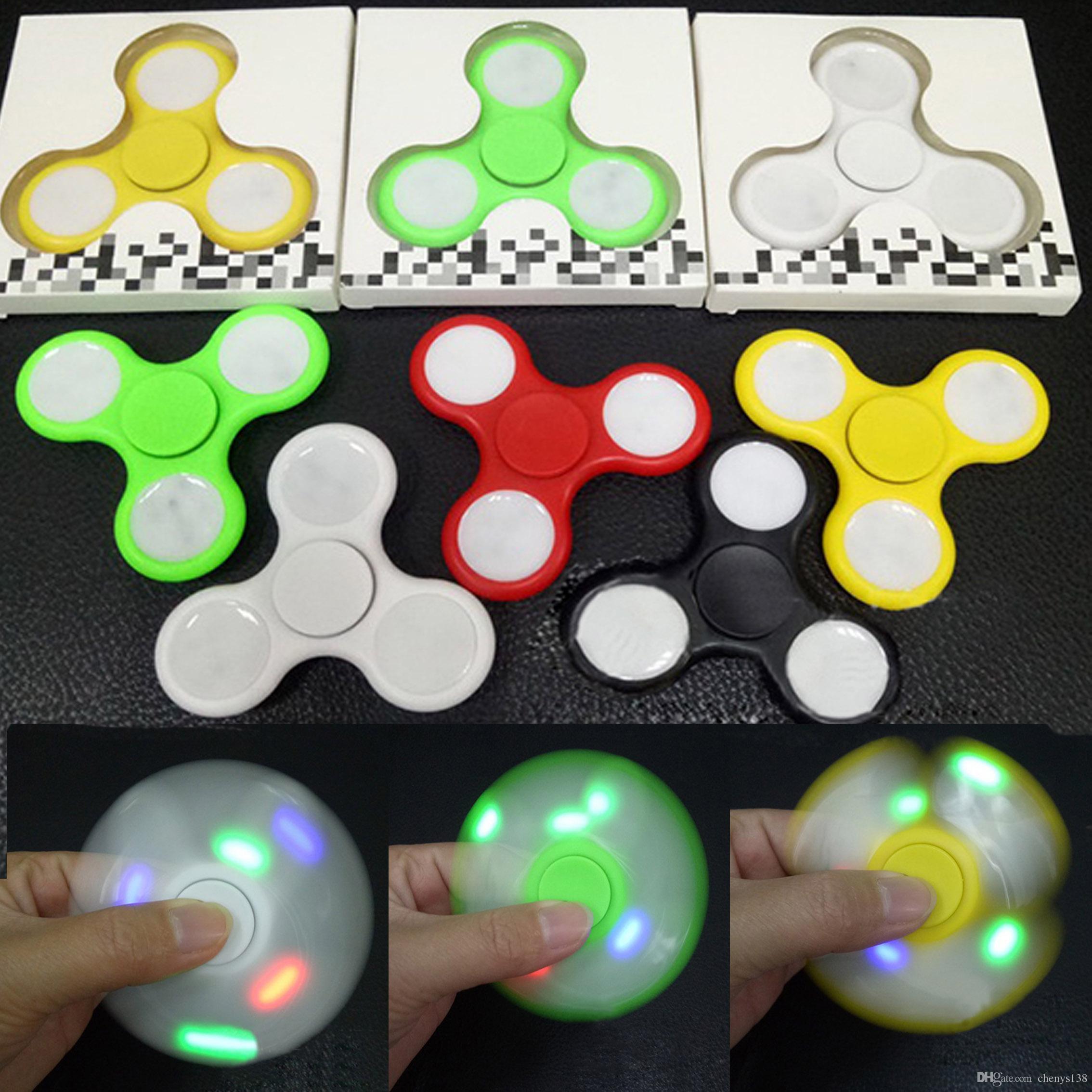 Led light up hand spinners fidget spinner triangle finger for Light up fishing spinners