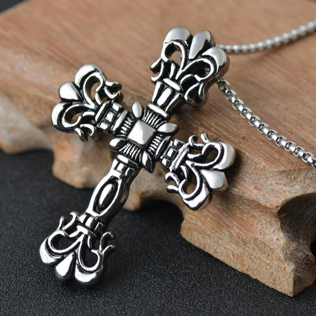 Stainless steel ornaments - Pendeloque Cut Stainless Steel Ornaments Casting Personality Restore Ancient Ways Man Necklace Cross Foreign Trade Ornaments