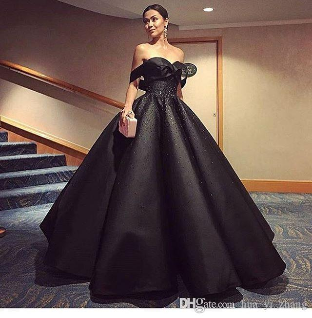 2017 Black Ball Gown Evening Dresses Off The Shoulder Shiny Beaded Ruffle Puffy Skirt Prom Gowns