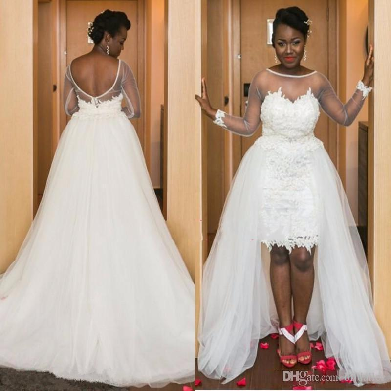 Discount cheap wedding dress plus size 2017 detachable for Plus size wedding dresses online usa