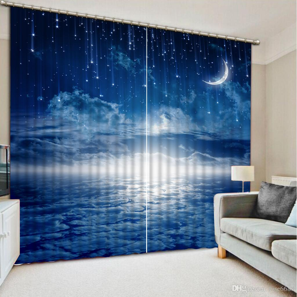 2017 Factory Direct Sale Home Decor Curtain Living Room Blue Sky Moonlight Natural Art Window