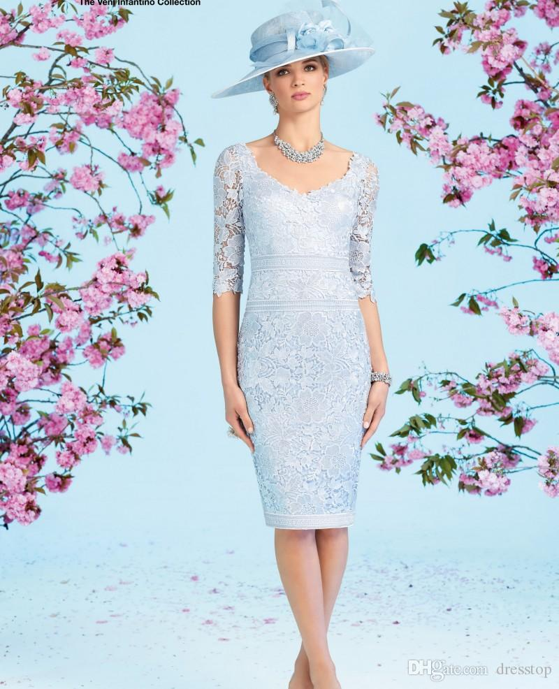 Light sky blue lace mother of the bride dresses with half for Sky blue wedding guest dresses