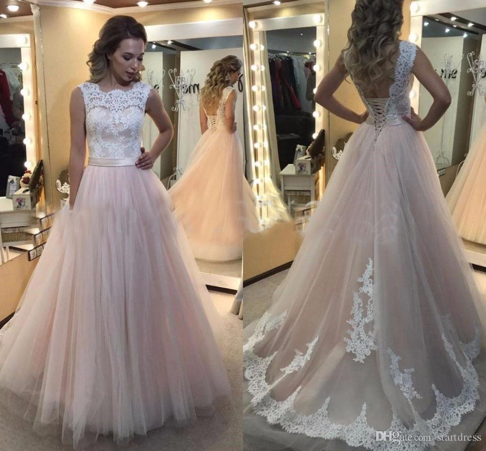pink country wedding dresses cheap floor length tulle lace wedding