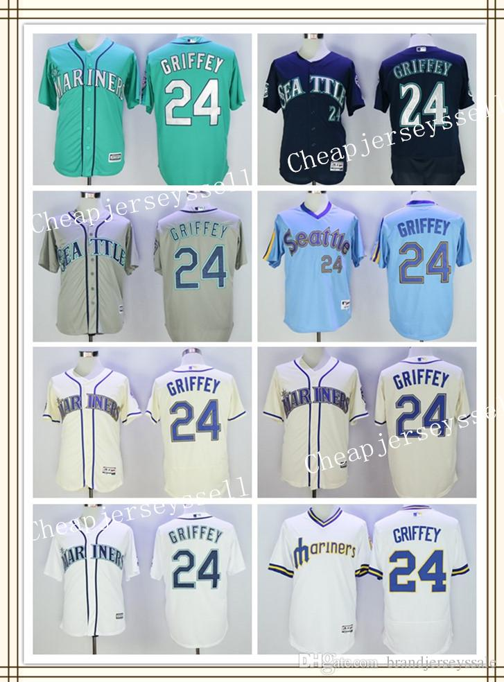 24 Ken Griffey Jr Jerseys Hommes Seattle Mariners Ken Griffey Jr Cool Base Crème