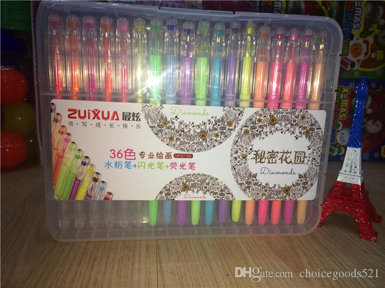 Baby Neon Water Chalk Gel Pens Diamond For Secret Garden Coloring Book Flash Fluorescent Pen Fine Drawing Highlighters Markers