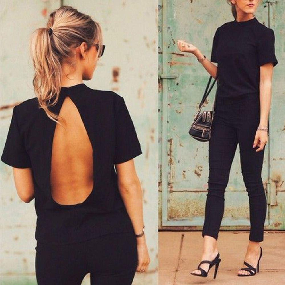 HOT New Women Ladies Casual T-shirt Coton Coton Femme 2016 Sexy Backless Choker