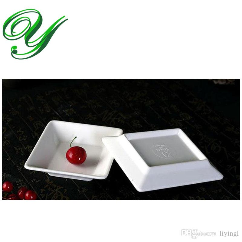 dipping saucers bowl sauce container melamine dinner plates dish 5u0027u0027 white rectangle sushi salad dessert serving tray buffet plastic plates heat resistant - Melamine Dinner Plates