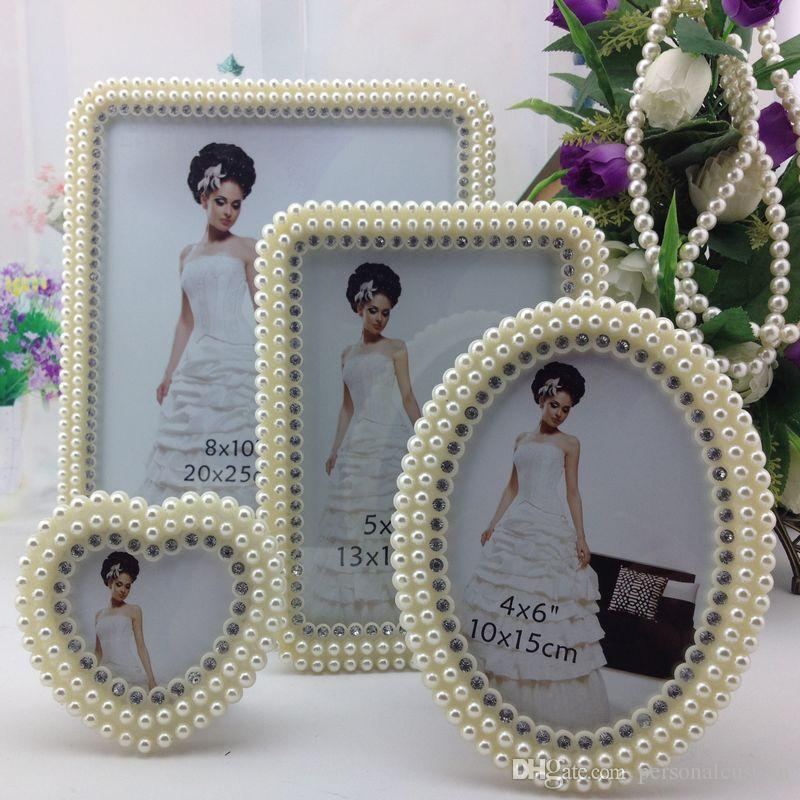 beautiful white photos frame wedding bridal crystal pearl beaded for wedding decoration home photos frames wedding suppliers