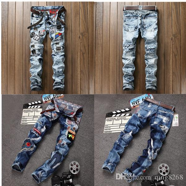 New Fashion Mens Robin Jeans Noir Rouge Denim Pants avec Crystal Studs Flap Pock