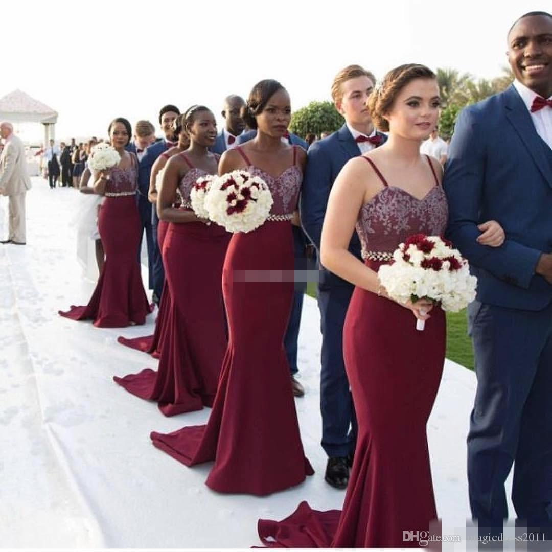 Burgundy long bridesmaid dresses spaghetti straps lace beading burgundy long bridesmaid dresses spaghetti straps lace beading belt 2017 bohemia wedding party formal wear mermaid maid of honor party gown cheap for sale ombrellifo Choice Image