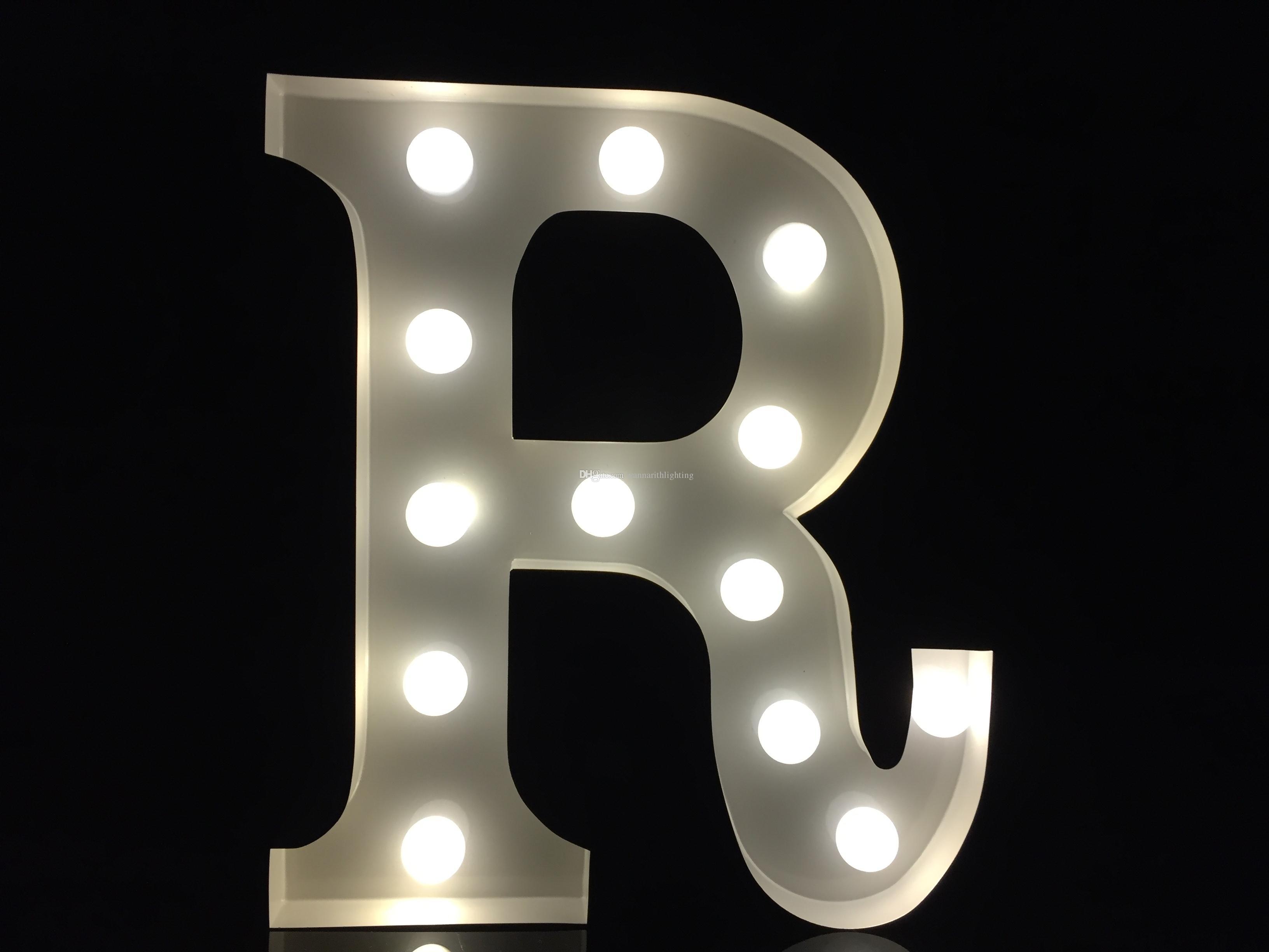 2018 vintage 9metal white light up letter r alphabet for Decoration 9 letters