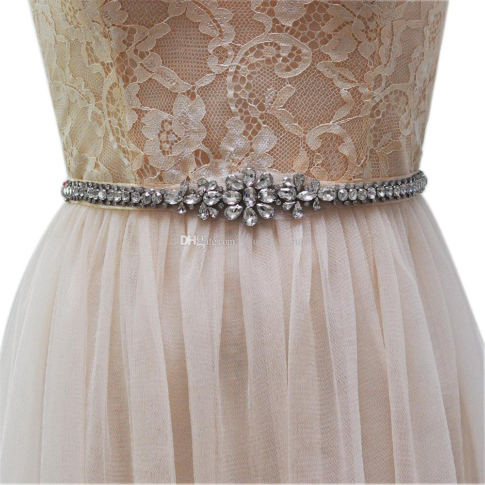 2017 vintage bridal sashes crystal beaded ribbon for Vintage wedding dress belts