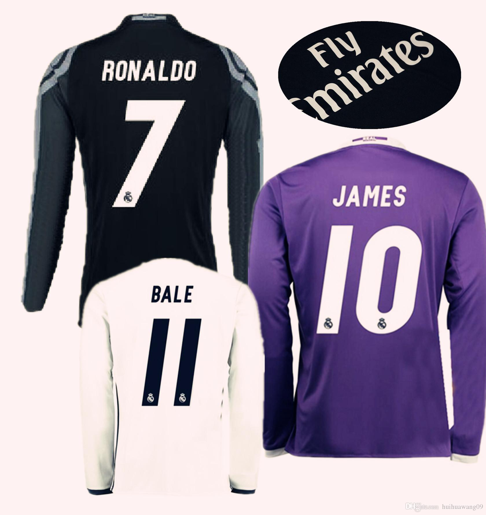 2016 17 manches longues Real Madrid chandails de football 15-16 Cristiano Ronald