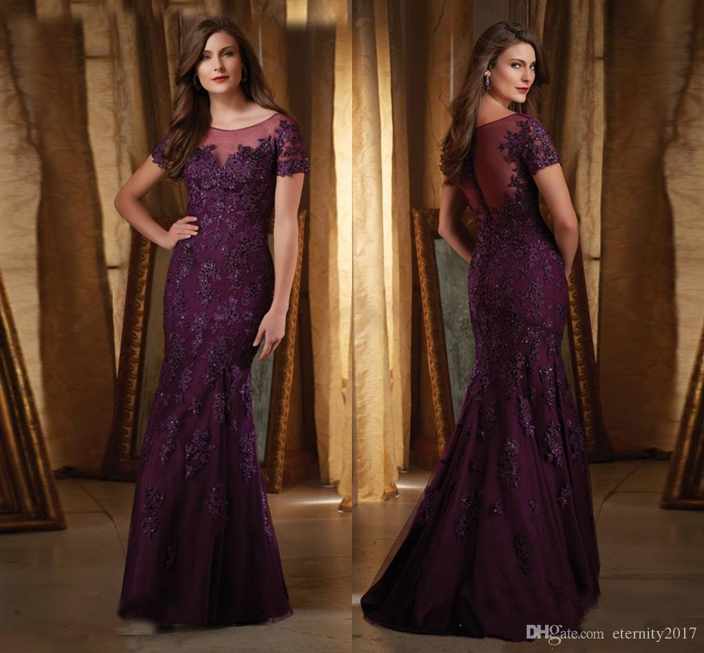 Purple Wedding Dresses And Suits : Mother elegant purple of the bride dresses pant suits