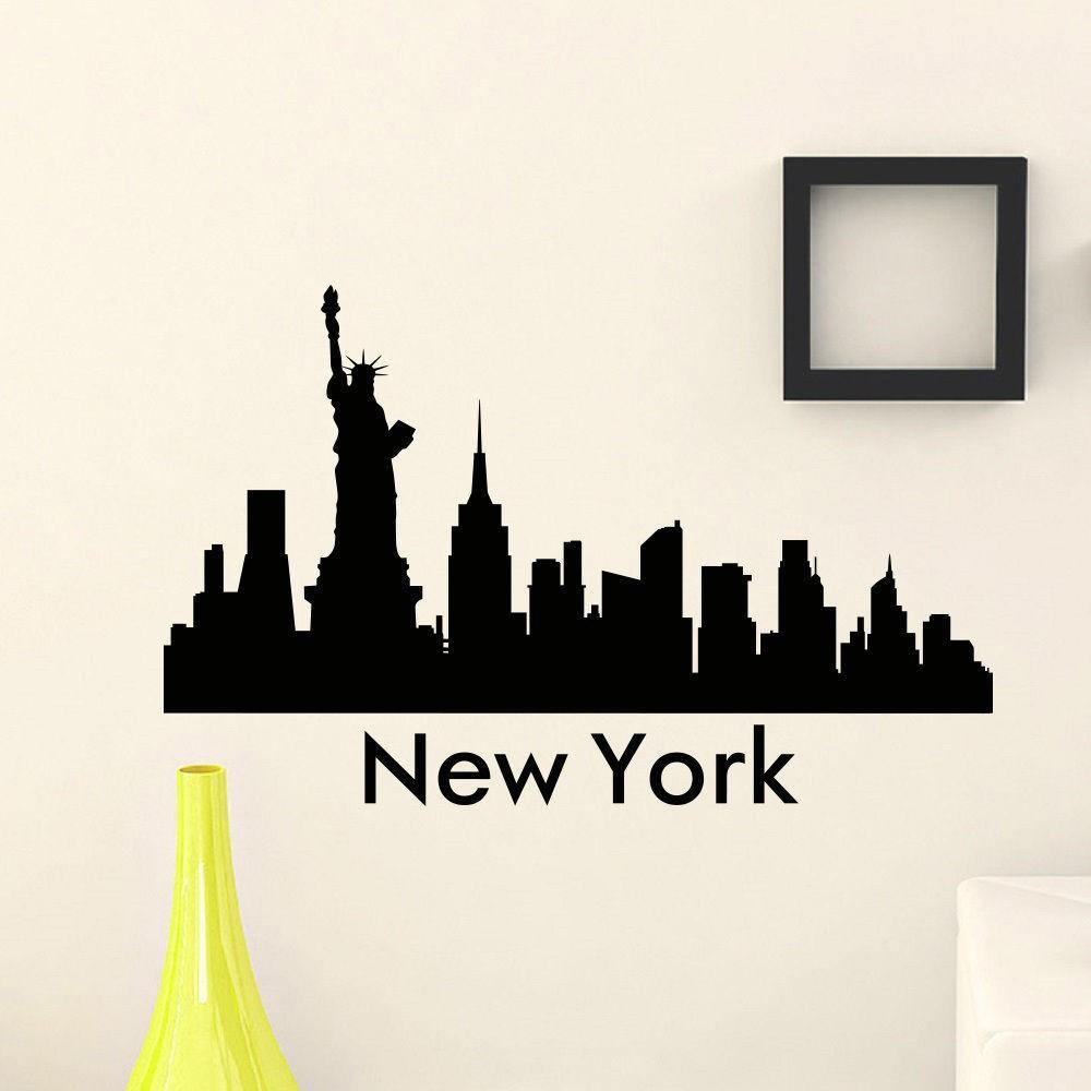 The Wall Sticker Vinyl Art Mural New York City Skyline City - Wall decals city
