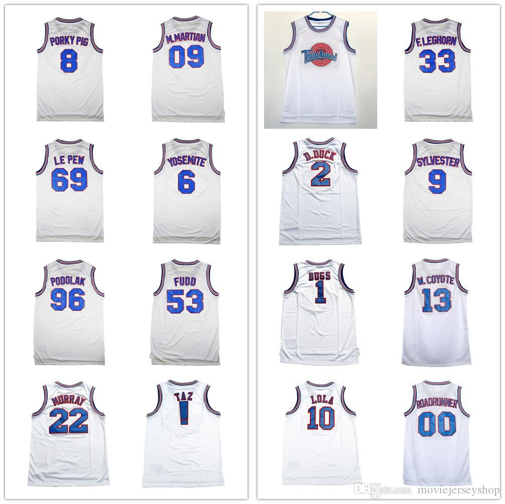Mens Space Jam Tune Squad White Movie Jersey # 00 Roadrunner # 69 Le pew # 53 Fu
