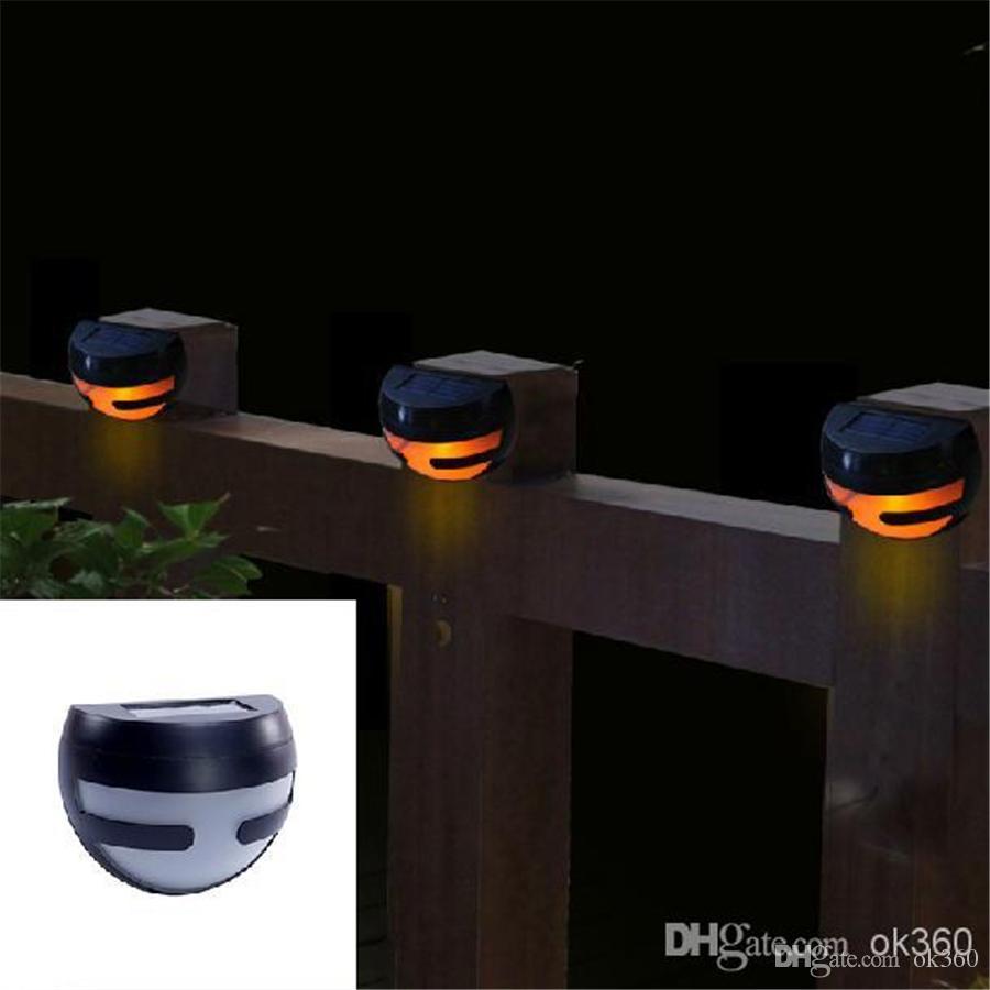 2 LED Solar Power Wall Light Sensor Light Stair Parapet Walkway ...