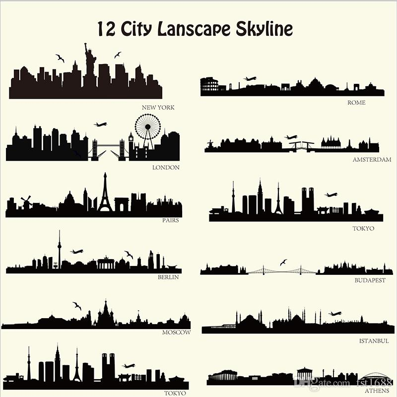London New York Etc Skyline Wall Stickers City Building Walll - Wall decals city
