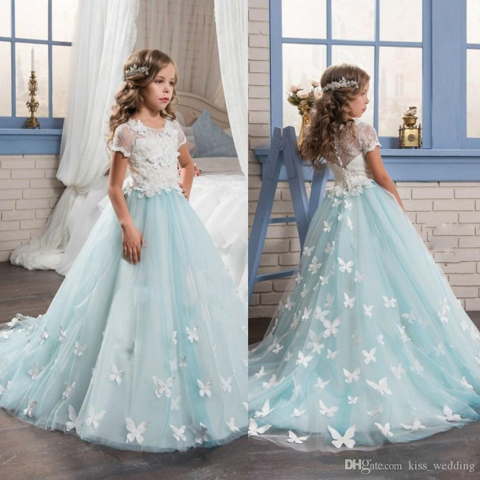 Exquisite Blue And White Kids Formal Dress Lace Sleeves Crew Tutu Gown With Butterfly Appliques