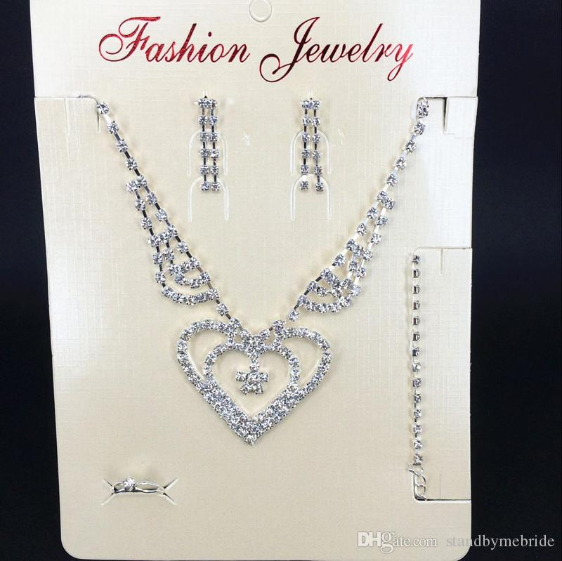 2017 new crystal silver rhinestone necklace earrings for Bridesmaid jewelry sets under 20