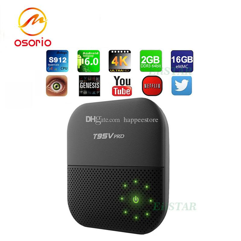 T95V PRO 2GB 16GB Boxes Amlogic S912 Octa core Android 6.0 TV Box WiFi Bluetooth