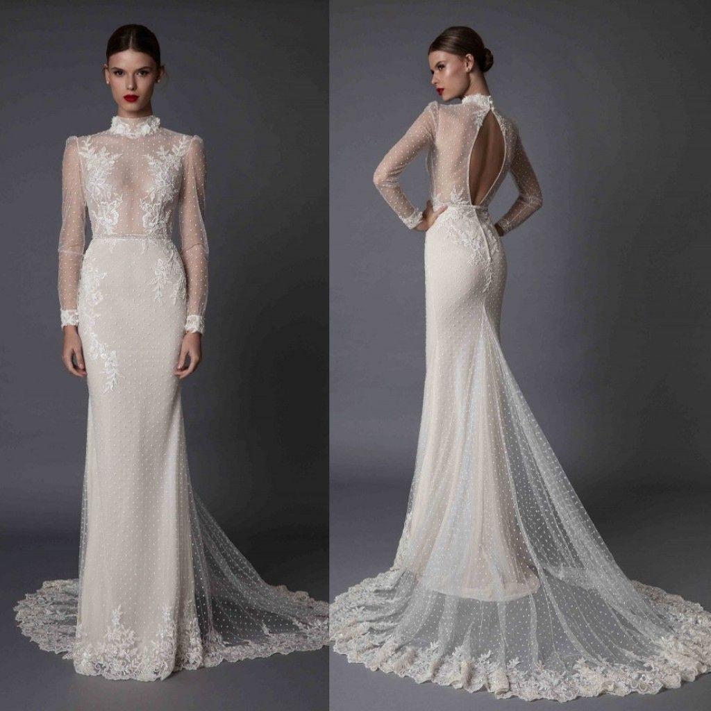 y Illusion Sheath Wedding Dresses Berta Long Sleeves