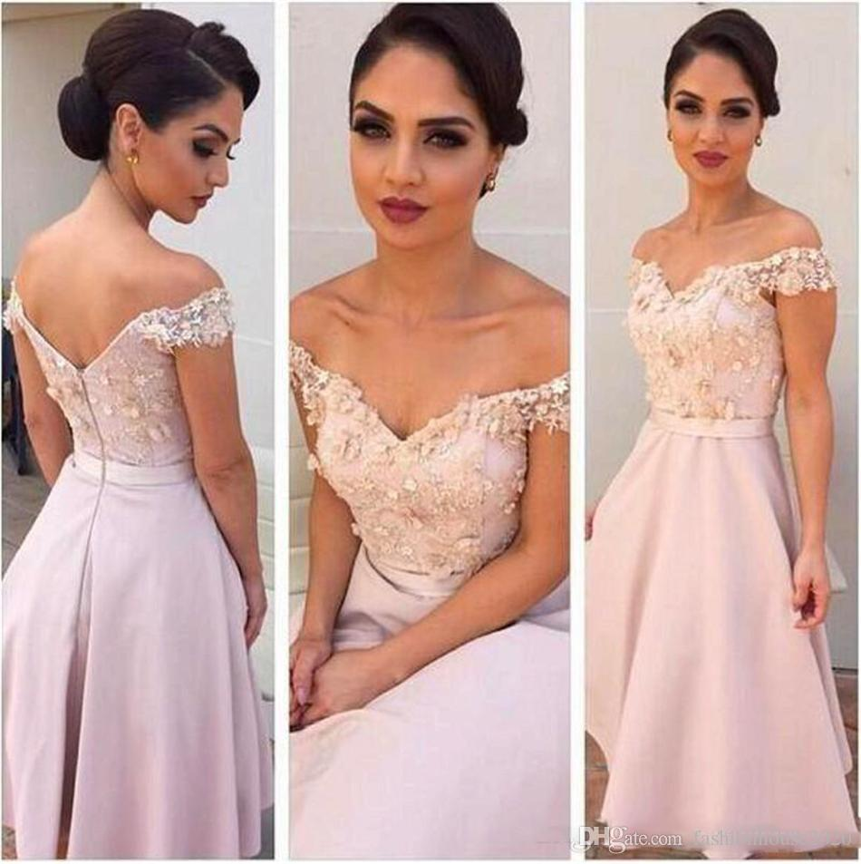 Blush pink short country bridesmaid dresses off the shoulder blush pink short country bridesmaid dresses off the shoulder appliques knee length bridesmaids dress plus size maid of the honer gowns bridesmaid dresses ombrellifo Choice Image