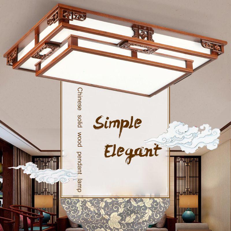 Chinese Style Ceiling Light Sapele Frame Living Dinning Bedroom