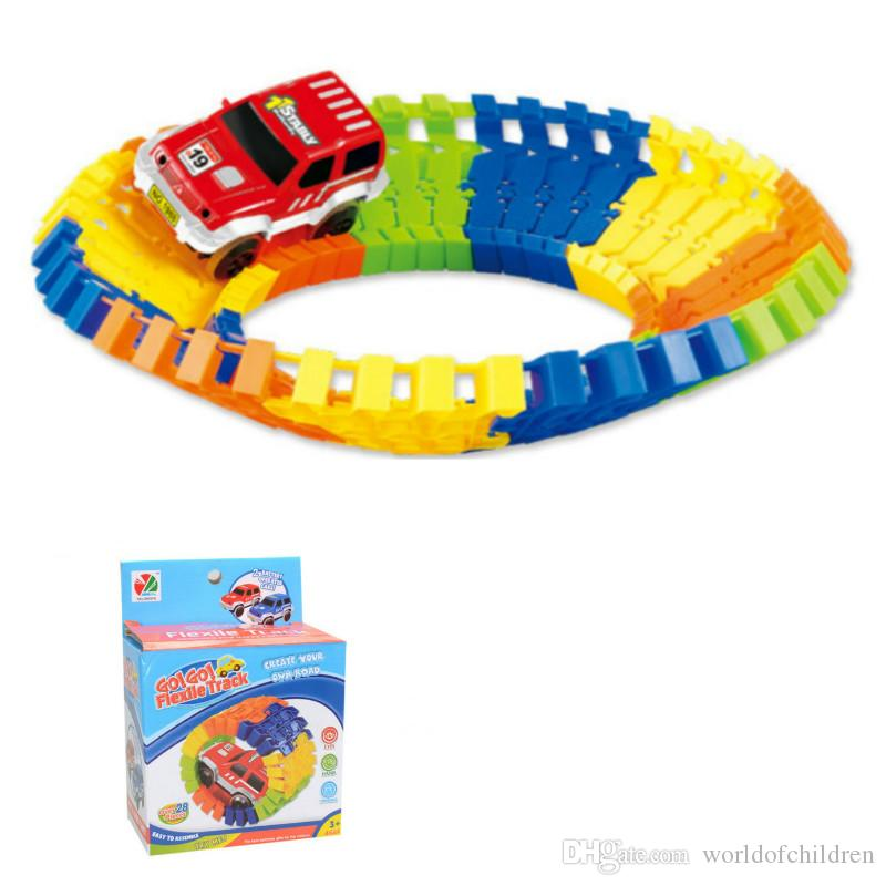 miraculous electronic racing car track kids toy childrens game boys xmas gift rail building block toy glowing race track track in the dark rail building