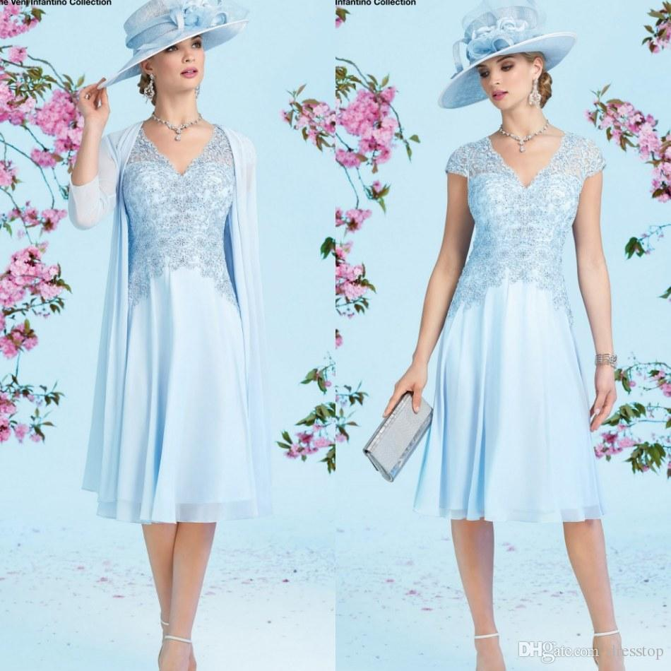 Sky blue wedding guest dresses : Light sky blue lace mother of the bride dresses with cap