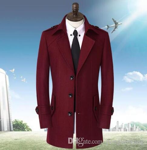 Red Blue Casual Long Sleeve Single-breasted Wool Coat Men Jackets ...
