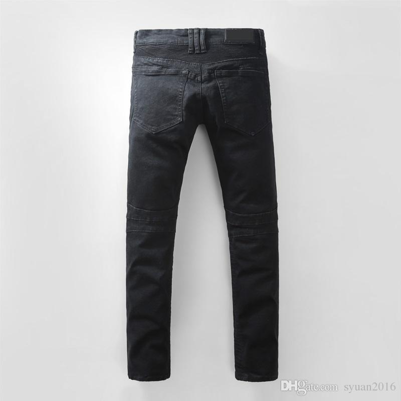 Nouveau # 946 Men's Embellished Ripped Biker Zippers Stretch Slim Black Denim Je