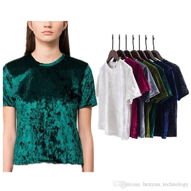 Fashion Autumn Winter Summer Velvet T Shirt Women Ripped T ...