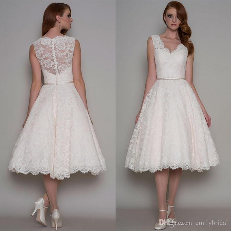 Inexpensive Chic Wedding Dresses : Chic a line lace wedding dress cheap tea length vintage short