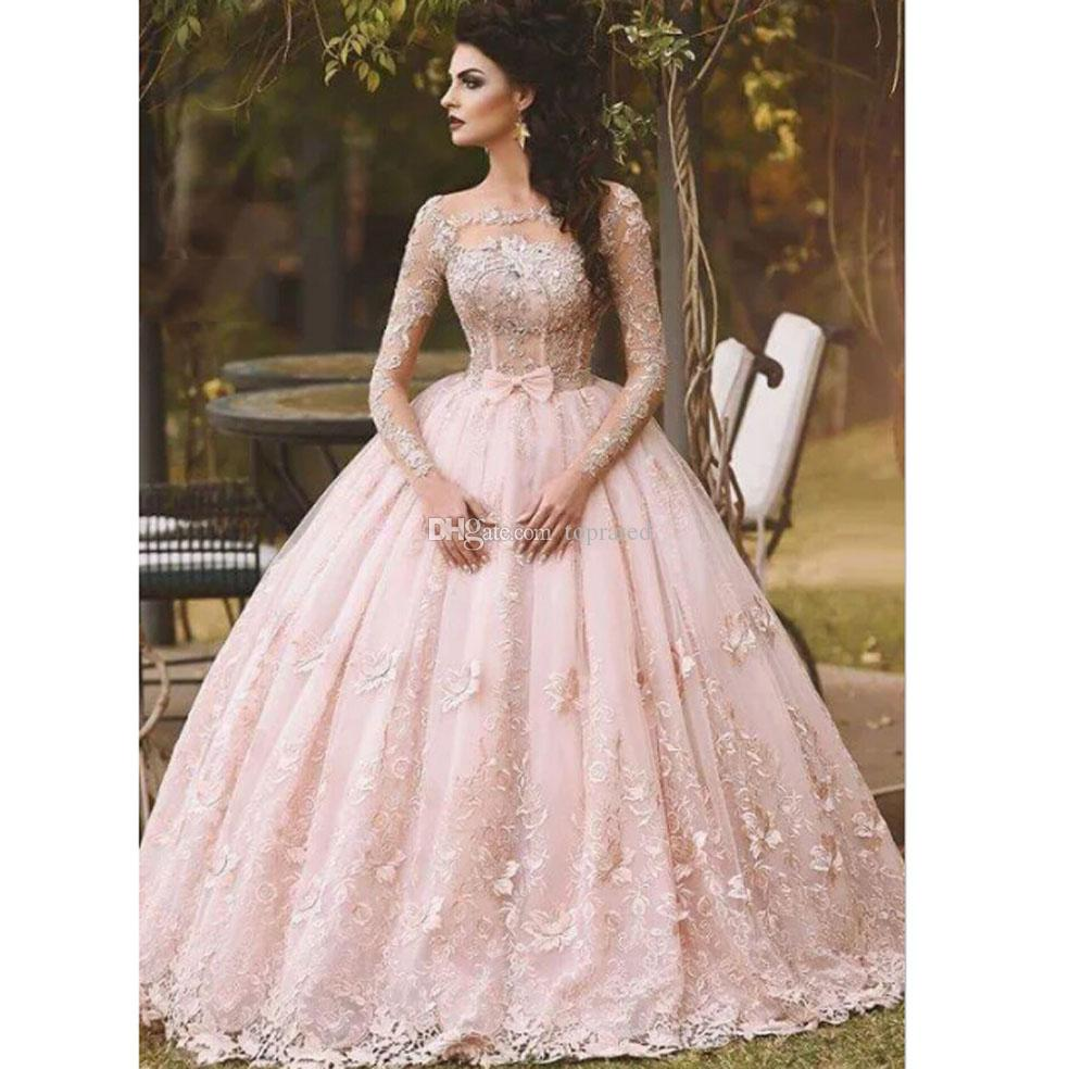 Pink Long Sleeve Prom Dresses Ball Gown Lace Appliqued Bow Sheer ...