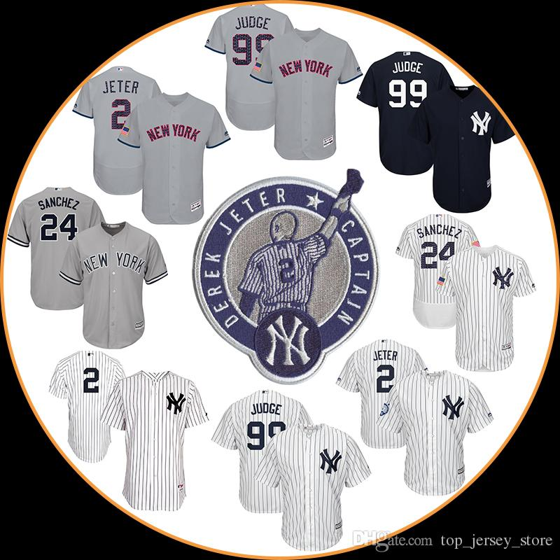 New York Yankees maillots de baseball Sanchez Aaron Juge Derek Jeter Mattingly M