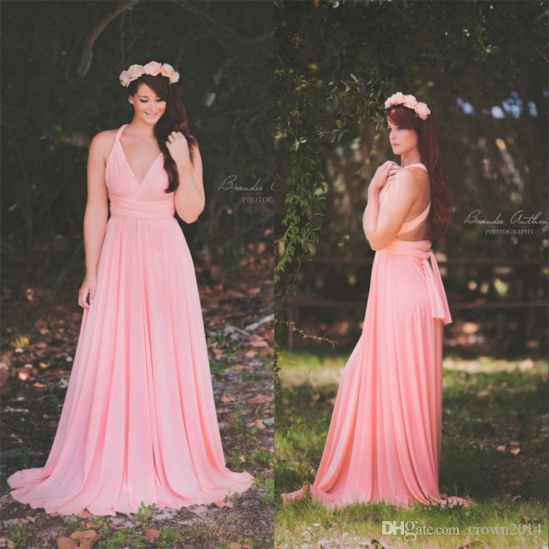 Chiffon Infinity Dress: Infinity Light Pink Convertible Long Chiffon Maternity