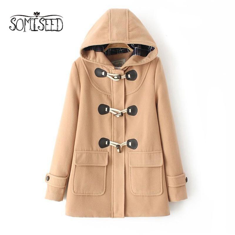 Duffle Wool Coat Long Turn Down Horn Button Hooded Collar Woolen ...