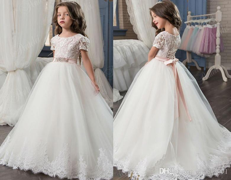 2017 Best Selling Flower Girl Dress For Wedding Lace Appliques ...