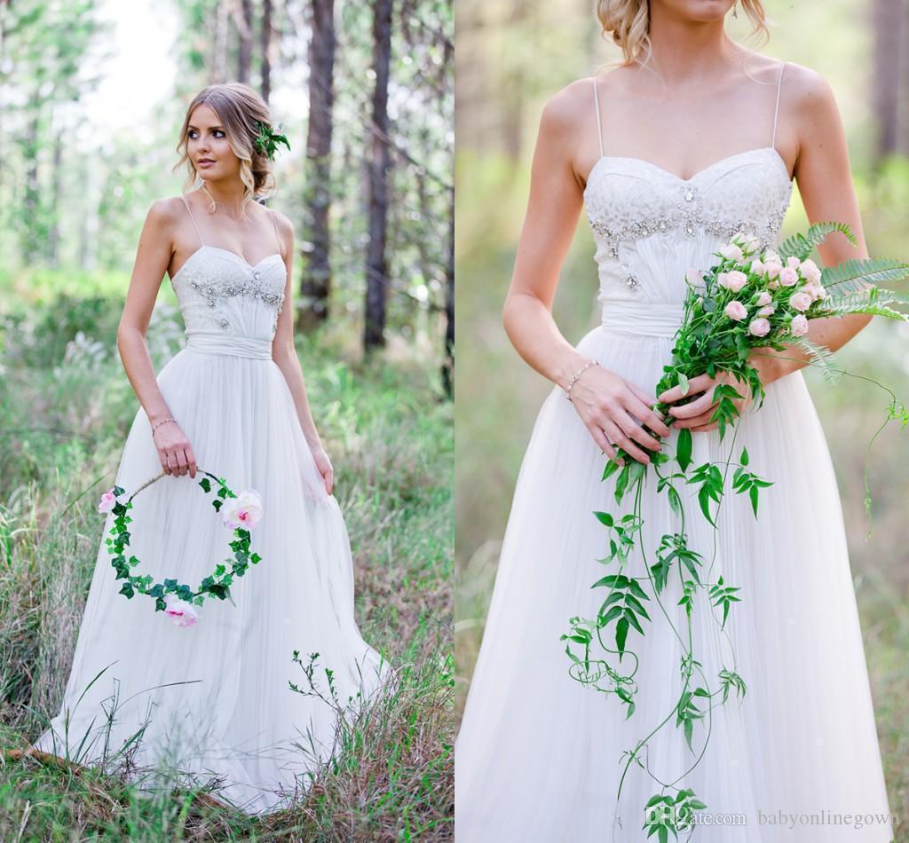 2017 summer boho cheap wedding dresses spaghetti straps for Cheap summer wedding dresses