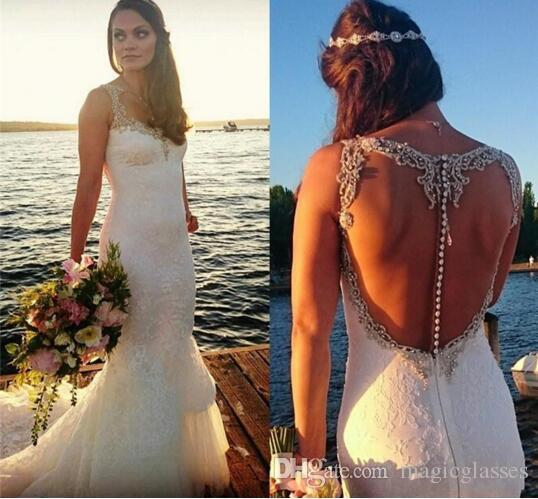 Backless beach wedding dresses 2016 mermaid crystal beaded for Sparkly beach wedding dresses