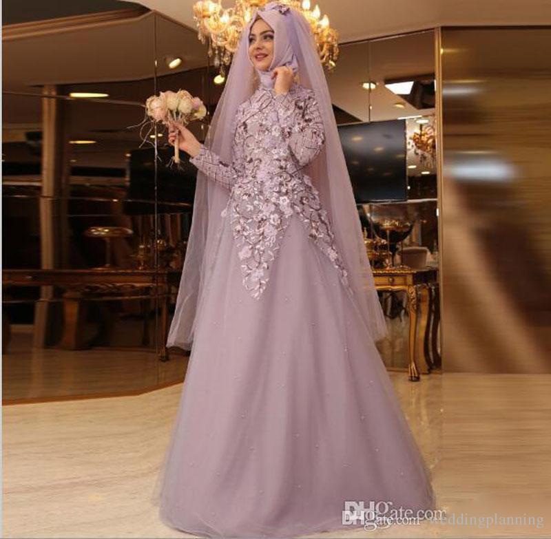 2017 muslim long sleeves hijab prom dresses high neck for Arabic wedding dresses with hijab