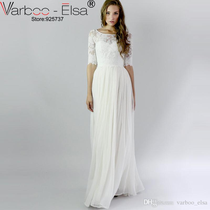 Varboo Elsa Vintage Bohemian Lace Beach Wedding Dresses With Half