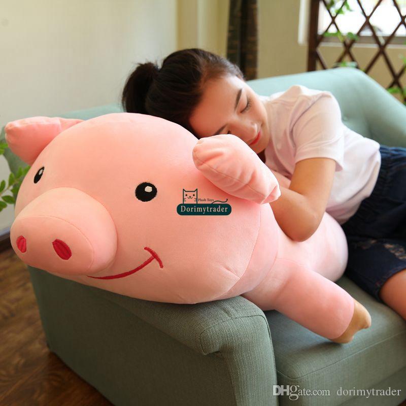 2017 dorimytrader 90cm large soft lovely cartoon lying pig plush pillow 35 39 39 cute stuffed animal. Black Bedroom Furniture Sets. Home Design Ideas