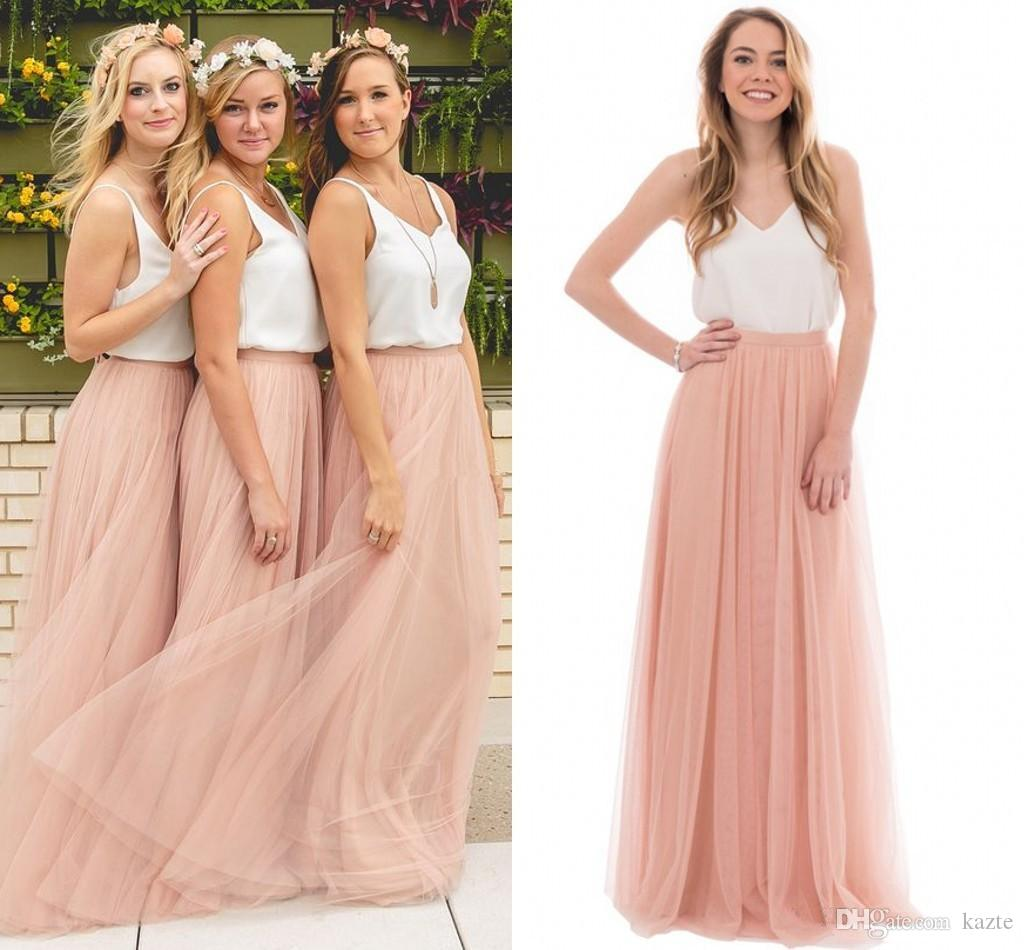 Two tone country wedding boho bridesmaid dresses blush tulle v two tone country wedding boho bridesmaid dresses blush tulle v neck 2017 cheap long party prom gowns plus size maid of honor dresses mermaid wedding dress ombrellifo Choice Image